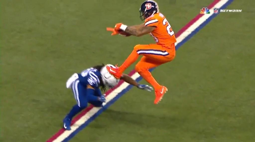 WATCH: Broncos' Devontae Booker hurdles Colts defender ...