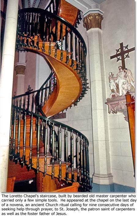 The Loretto Chapel S Miracle Staircase Desertusa   Loretto Chapel Staircase Wood   Free Standing   St Joseph   Nm Church Santa Fe   Light   Sister