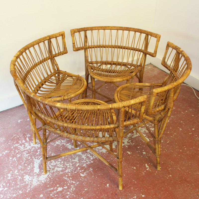 French vintage rattan chairs   1950s   Design Market