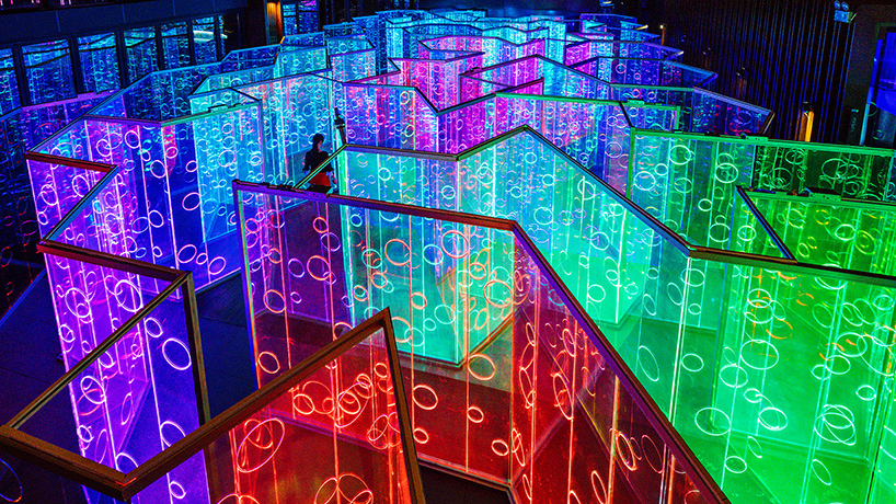 Rainbow Hued Light Labyrinth By Brut Deluxe Forms An