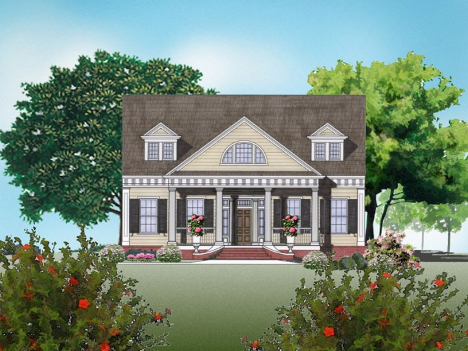 Greek Revival Home Plans   Greek Revival Style House Plans Burn house plan rendering