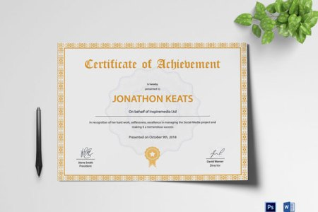 10 Sets of Free Certificate Design Templates   Designfreebies Achievement Certificate Template  DOWNLOAD