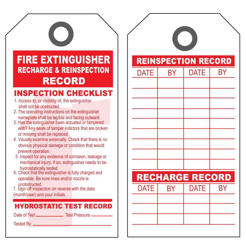 Fire Extinguisher Reinspection & Recharge Tag | DesignsnPrint