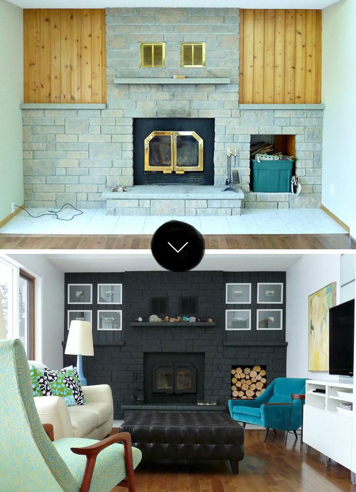 A Bold Black Fireplace Makeover Design Sponge