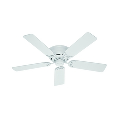 Hugger Ceiling Fans with Light   Hugger Fans   Destination Lighting 52 Inch Hunter Fan Low Profile III White Ceiling Fan Without Light