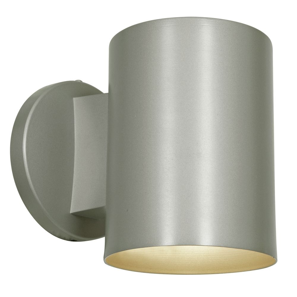 Outdoor Cylinder Wall Light In Satin Nickel Finish 20363