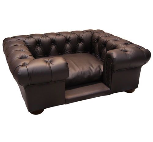 Balmoral Brown Faux Or Real Leather Dog Sofa Bed
