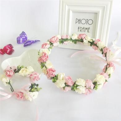 2015 Girl Hair Accessories Elegant Flower Garlands Rural Headdress     2015 Girl Hair Accessories Elegant Flower Garlands Rural Headdress Wrist  Flowers With Green Leaves Lace Bowknot Cheap Bridal Flowers Fake Wedding  Flowers
