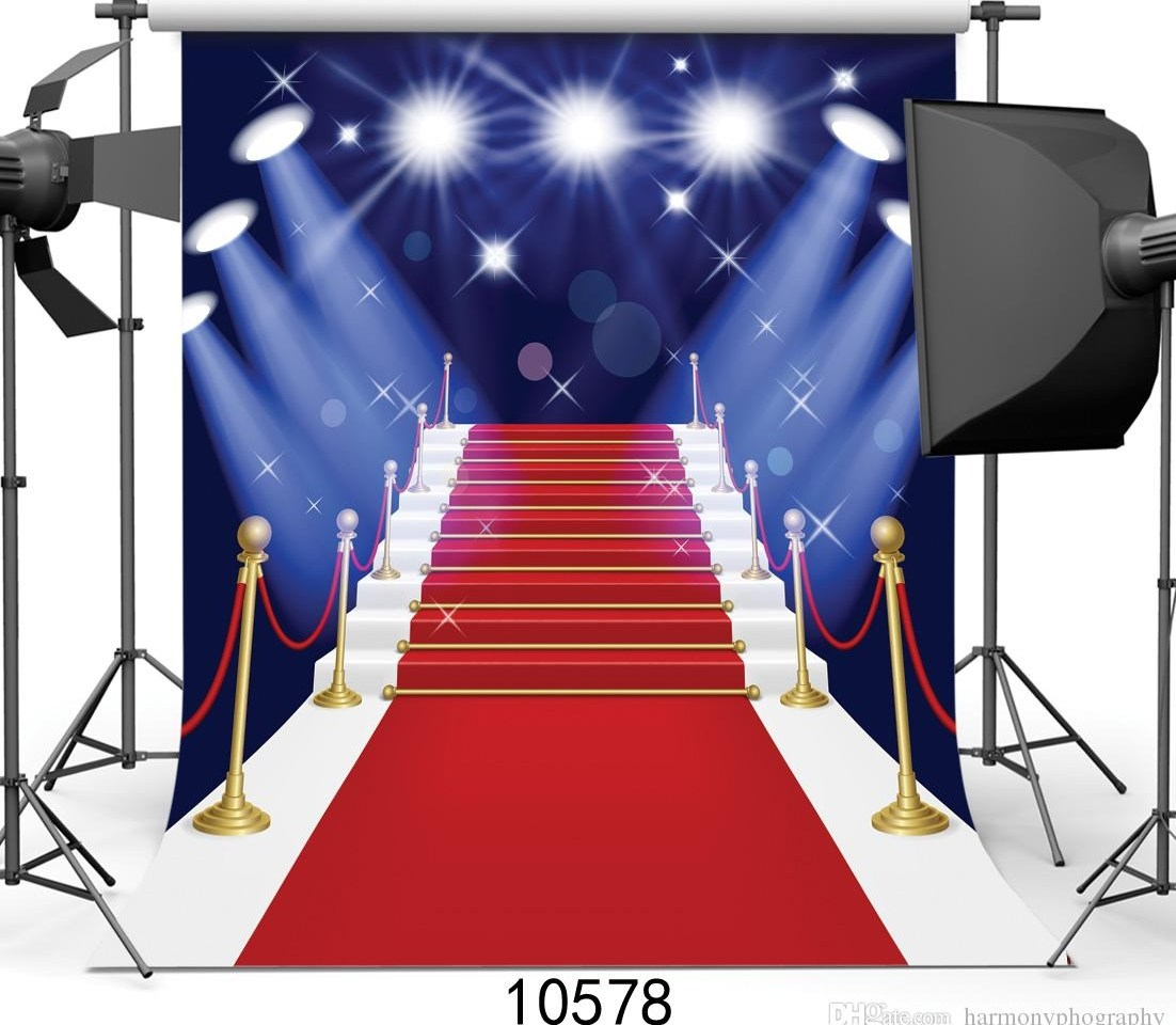 2020 Red Carpet Photography Backdrops Stairs Spotlight Backgrounds | Stairs With Red Carpet | Event | Gold | Spiral Staircase | Traditional | White