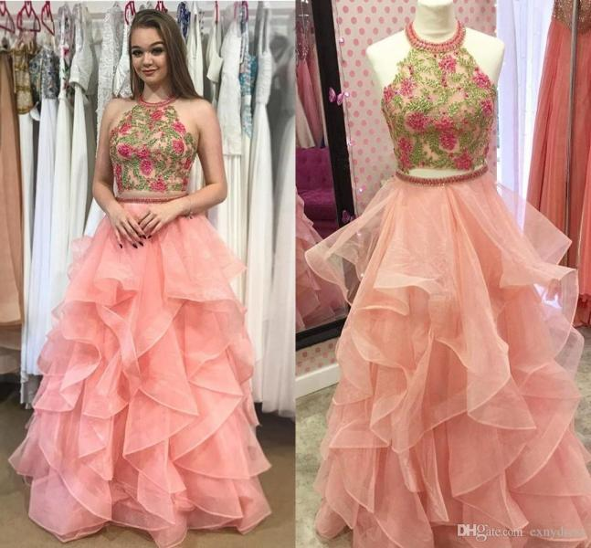 2018 Two Pieces Halter Backless Tiered Ruffles Organza Coral Open     2018 Two Pieces Halter Backless Tiered Ruffles Organza Coral Open Back Prom  Dress With Appliques Cheap Party Pageant Gowns The Best Prom Dresses Tie Dye
