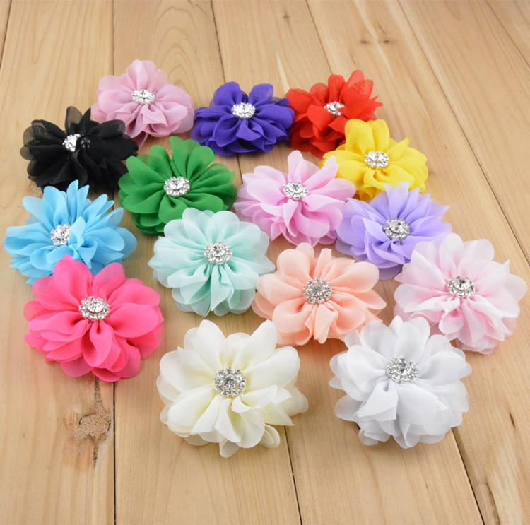 2 8inch Chiffon Fabric Flowers For Headbands Diy Artificial Flowers     2 8inch Chiffon Fabric Flowers For Headbands Diy Artificial Flowers  Rhinestone Center Hat Garment Hair Accessories Ha0156 Kids Hair Accessories  Online Hair