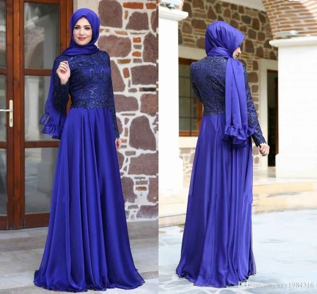 Arab Royal Blue Prom Dresses Long Sleeve Lace Top Modest Floor Length Muslim Evening Dresses