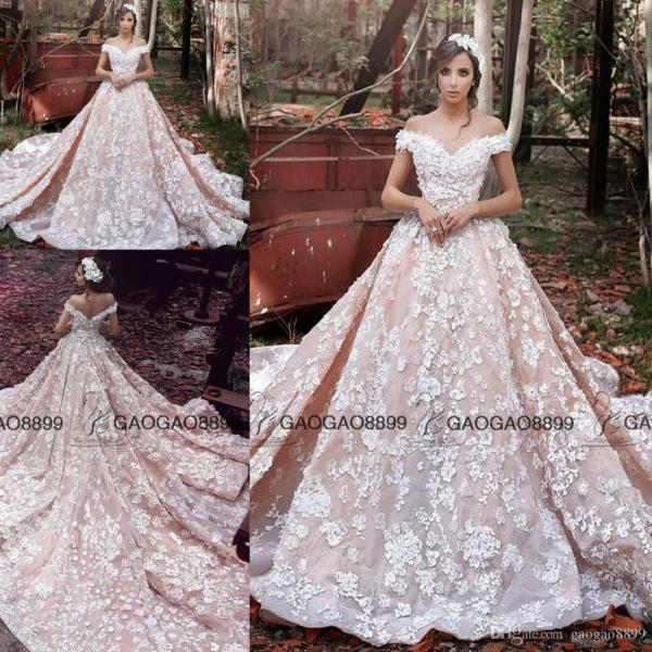 Ziad Nakad 2017 Vintage Blush 3d Floral Princess Cathedral Ball Gown     Ziad Nakad 2017 Vintage Blush 3d Floral Princess Cathedral Ball Gown  Wedding Dresses Plus Size Off Shoulder Garden Wedding Gowns Elie Saab  Destination
