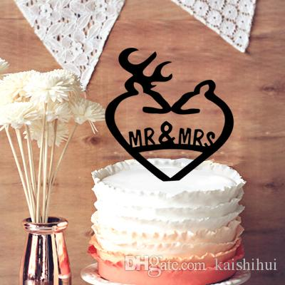 2018 Unique Deer Wedding Cake Topper  Engraved Mr   Mrs Wedding Cake     2018 Unique Deer Wedding Cake Topper  Engraved Mr   Mrs Wedding Cake Topper   Hunter Themed Wedding Cake Topper From Kaishihui   14 08   Dhgate Com