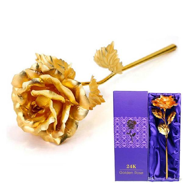 Best New Creative Birthday Wedding Gif 24k Manual Golden Rose     Best New Creative Birthday Wedding Gif 24k Manual Golden Rose Lover S Flower  Gold Dipped Rose Artificial Flower Gold Painted Decoration Freeship Under   8 85