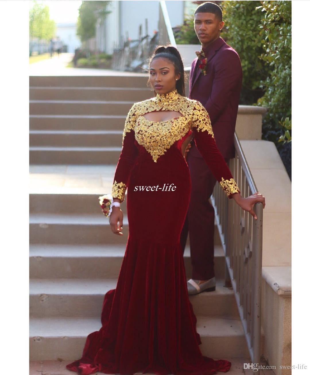 Black Girls Prom Dresses Gold