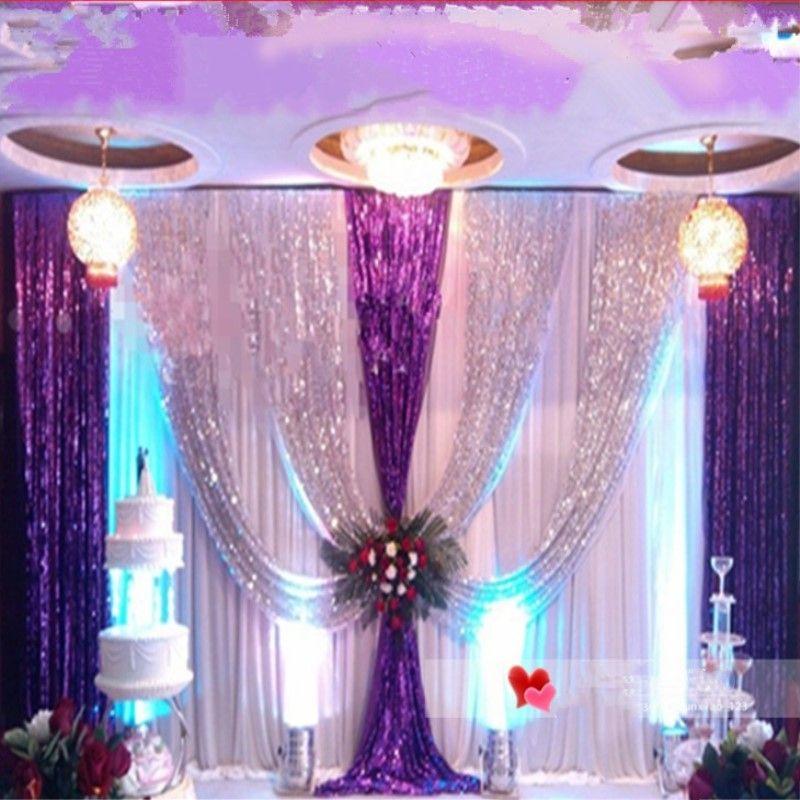 Upscale Sequins Fabric Wedding Backdrop Decoration Gauze