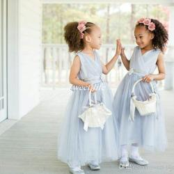 ddc9ce1534e Light Blue Wedding Flower Girl Dresses Ankle Length Tulle Sash V