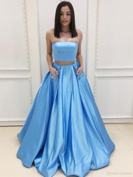 A Line Strapless Sky Blue Satin Long Prom Dresses With Pocket     A Line Strapless Sky Blue Satin Long Prom Dresses With Pocket Crystals  Women Formal Party Dress Custom Made Tie Dye Prom Dresses Usa Prom Dresses  From