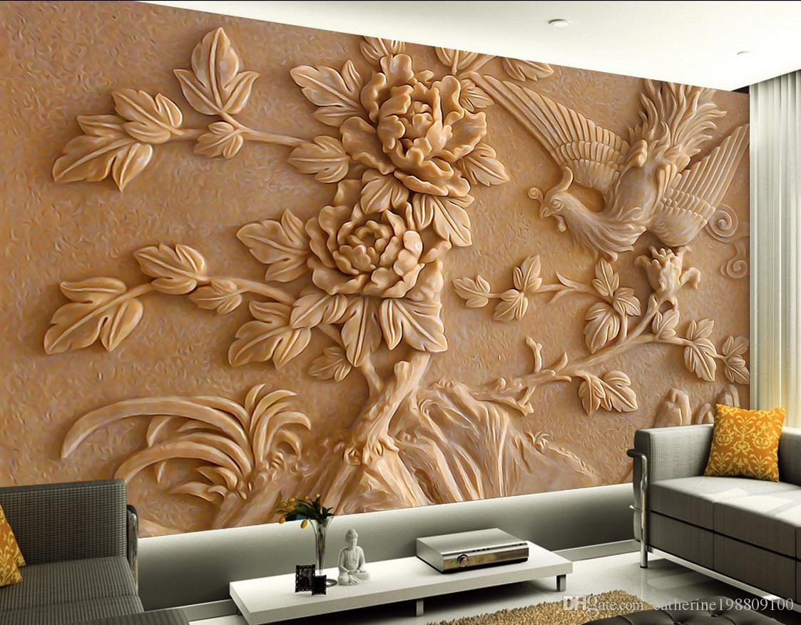 Chinese Stereo Relief Phoenix Peony Mural Tv Wall Mural 3d Wallpaper     Chinese Stereo Relief Phoenix Peony Mural Tv Wall Mural 3d Wallpaper 3d Wall  Papers For Tv Backdrop High Resolution Desktop Wallpaper Widescreen High