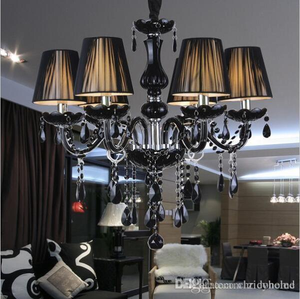small black crystal chandelier # 26