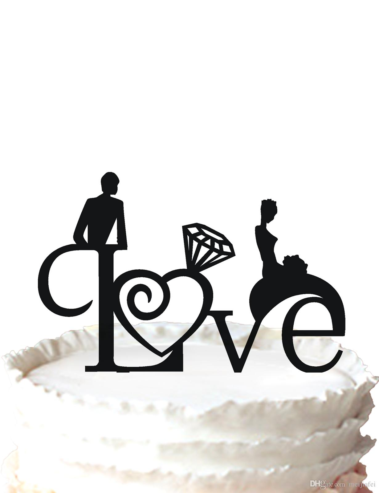 2018 Love Wedding Cake Topper Silhouette Bride And Groom And Diamond     2018 Love Wedding Cake Topper Silhouette Bride And Groom And Diamond For  Option From Meijiafei   17 31   Dhgate Com