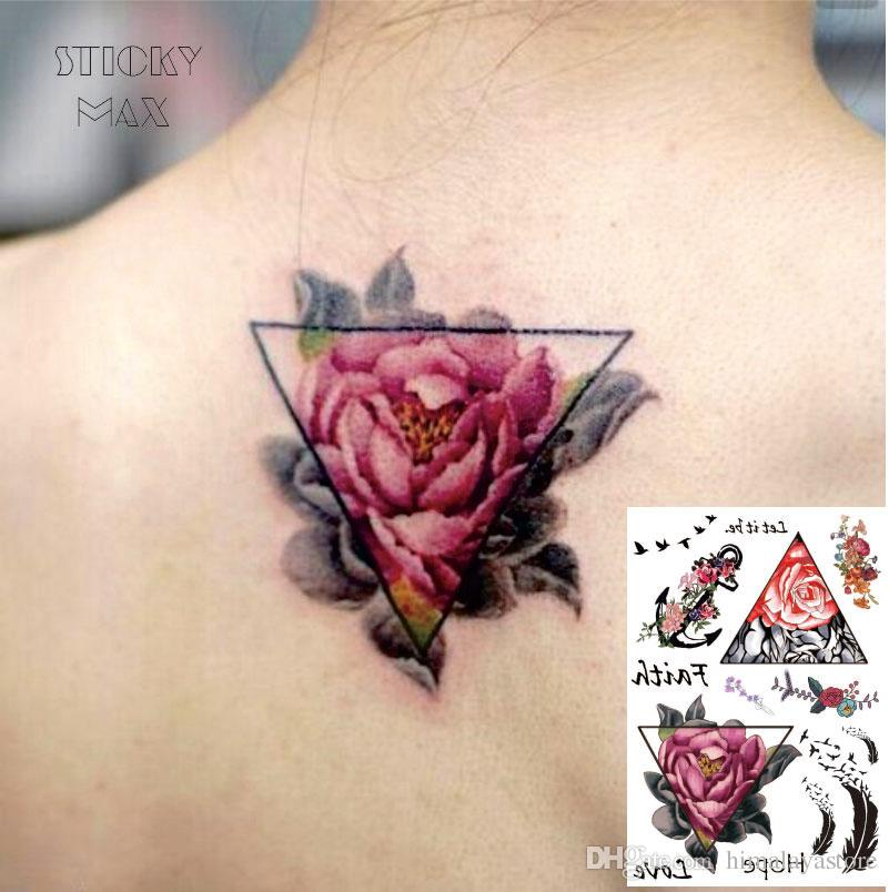 W01 Triangle Rose On The Back Waterproof Tattoo With Bird Feather     W01 Triangle Rose On The Back Waterproof Tattoo With Bird Feather  Anchor  Pattern Temp Tattoo Temporary Eyebrow Tattoo From Himalayastore   0 69   Dhgate Com
