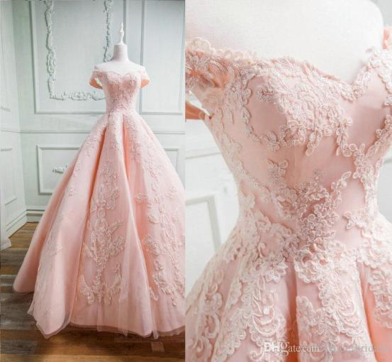 Discount 2018 Blush Pink Garden Wedding Dresses Real Photos     Discount 2018 Blush Pink Garden Wedding Dresses Real Photos Sweetheart  Beads Ruffles Skirt Princess Lace Bridal Dresses With Sweep Train Ball Gown  Princess