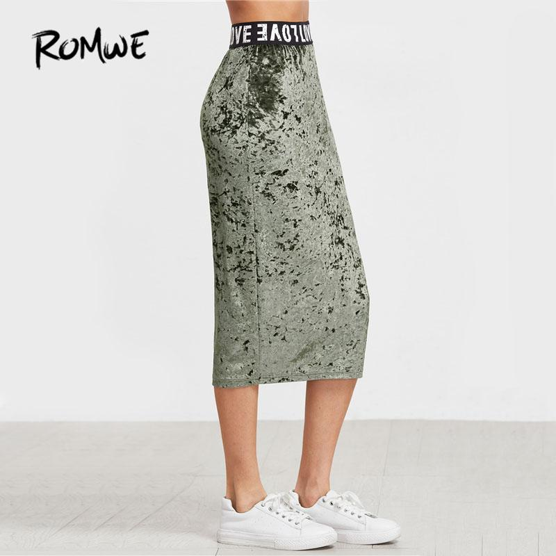 Online Cheap Romwe Logo Waist Crushed Velvet Skirt Women Letters     Online Cheap Romwe Logo Waist Crushed Velvet Skirt Women Letters Print  Fashion Bottom 2017 Ladies Autumn Green Pencil Skirt By Zhusa   Dhgate Com