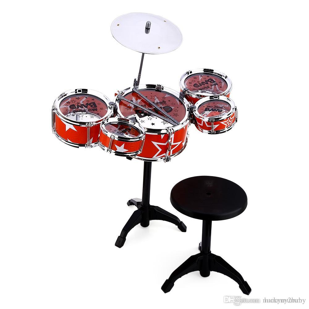 Online Cheap Jazz Rock Drums Set Playset Toys Wanyi Kids Deluxe Jazz     Online Cheap Jazz Rock Drums Set Playset Toys Wanyi Kids Deluxe Jazz Drums  Kit Musical Instrument Toy With Cymbal Stool Christmas Birthday Gift By