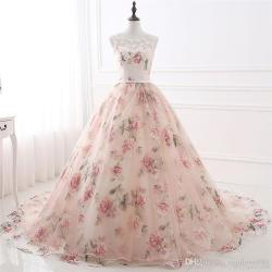 e4c210053c8 Print Flower Ball Gown Prom Dresses Jewel Neck Lace Quinceanera
