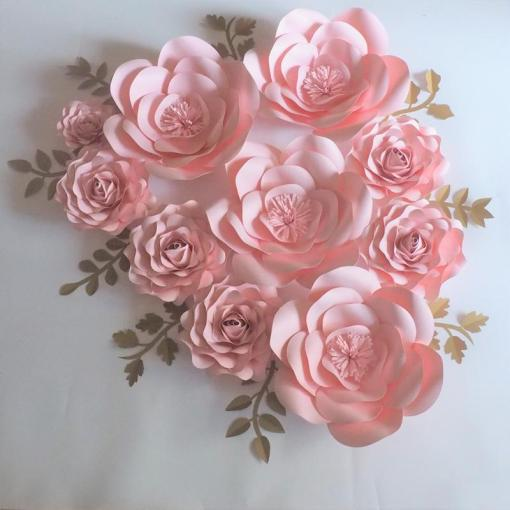 2018 2018 Baby Pink Rose Giant Paper Flowers Backdrop Gold Leaves     2018 2018 Baby Pink Rose Giant Paper Flowers Backdrop Gold Leaves For  Wedding   Event Baby Nursery Baby Shower Artificial From Fivestarshop