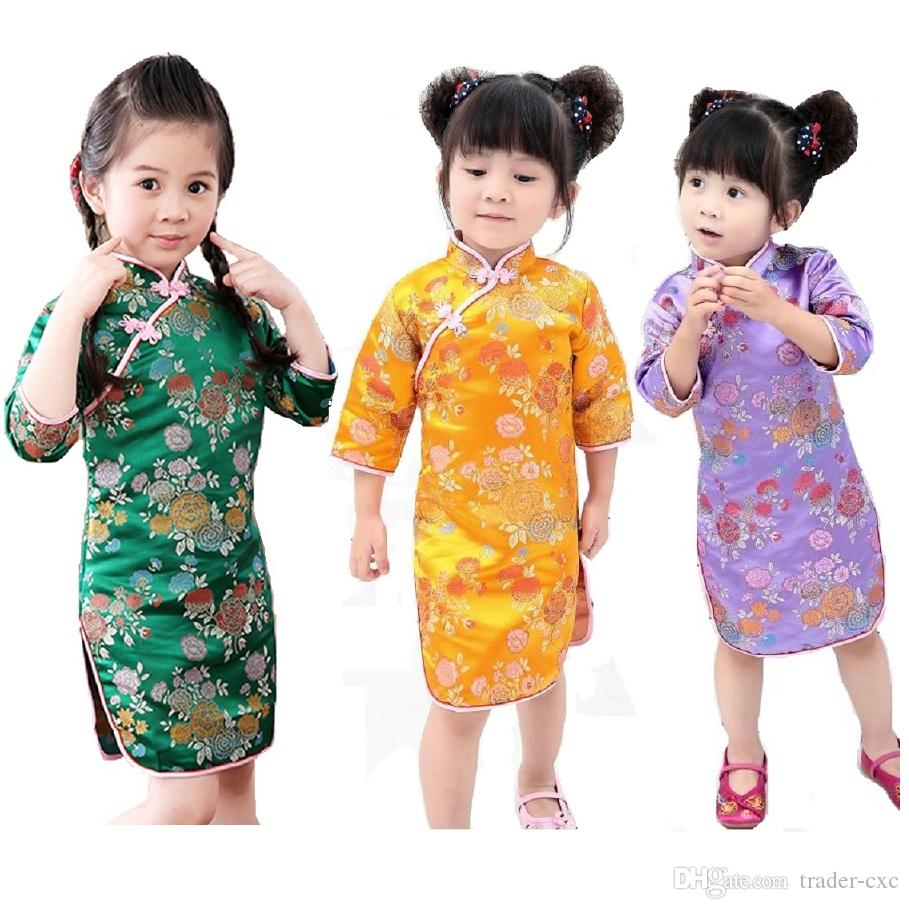 2018 Chinese New Year Baby Girls Dress Tribute Silk Kids Traditional     2018 Chinese New Year Baby Girls Dress Tribute Silk Kids Traditional Qipao  Children Cheongsam Girl Dresses Clothes Vestidos Tops Skirts Girls Dress  Children