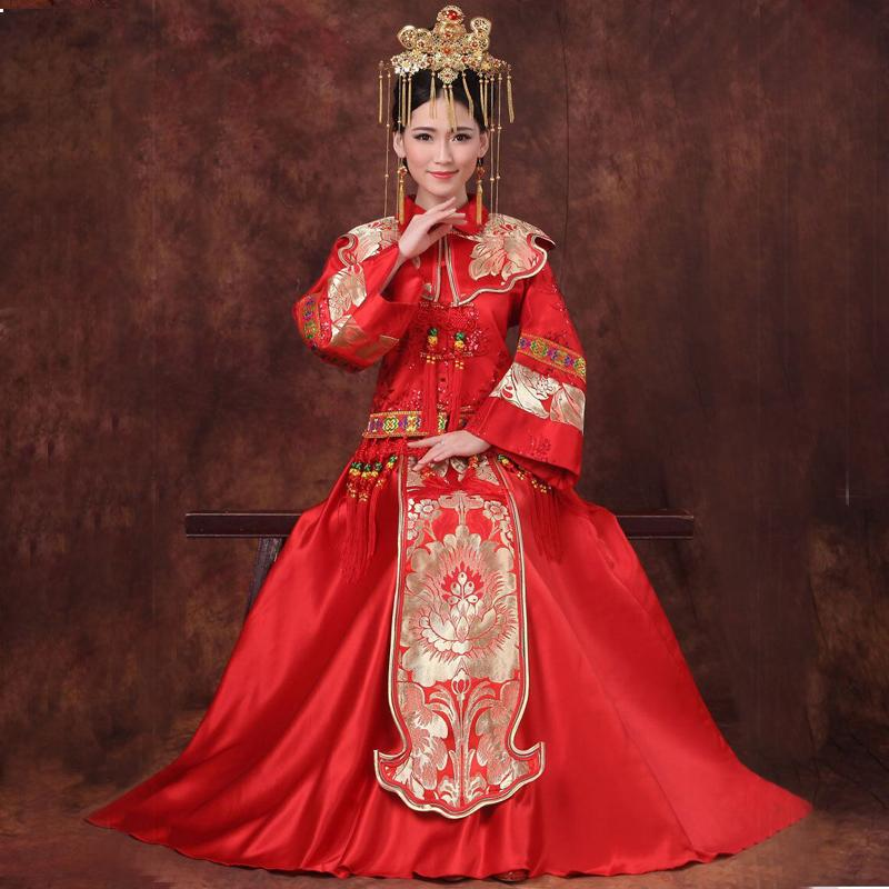 2019 New Red Traditional Chinese Wedding Dress Qipao ...
