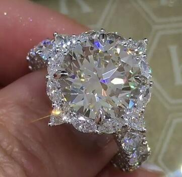Platinum Super Big Diamond Ring Brilliant Cut Diamond Engagement Ring For Women Wedding Rings