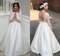 Wholesale White First Communion Dresses For Juniors   Buy Cheap     Wholesale white first communion dresses for juniors   Lace Satin Long  Sleeves Flower Girls Dresses For
