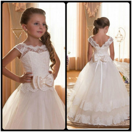 Wholesale First Communion Dresses in Kids Formal Wear   Buy Cheap     First Communion Dresses For Girls Scoop Backless With Appliques and Bow  Tulle Ball Gown Pageant Dresses For Little Girls