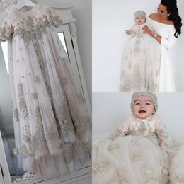 Wholesale First Communion Dresses in Kids Formal Wear   Buy Cheap     Blush Pink Crystal Christening Gowns For Baby Girls Long Sleeves Lace  Appliqued Baptism Dresses With Bonnet First Communication Dress