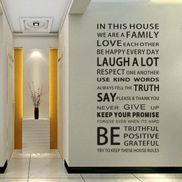 Shop Wall Sticker House Rules UK   Wall Sticker House Rules free     English Proverbs Wall Sticker Family House Rules Wall Stickers Decal DIY  Decor Home Kids Great Gift Wallpapers