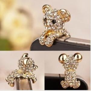 Fashion Cute Animal Diamond Phone Accessories Anti Dust Plug Ear Cap     Fashion Cute Animal Diamond Phone Accessories Anti Dust Plug Ear Cap For  3 5mm Jack My55 Cell Phone Dust Plug Cell Phone Gadgets From Topjeweller