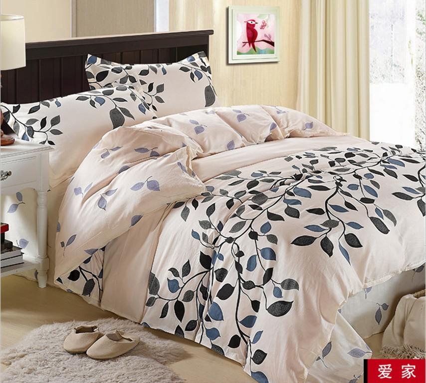 Leaves White Black Flower Flowers Cotton Queen Size Bed