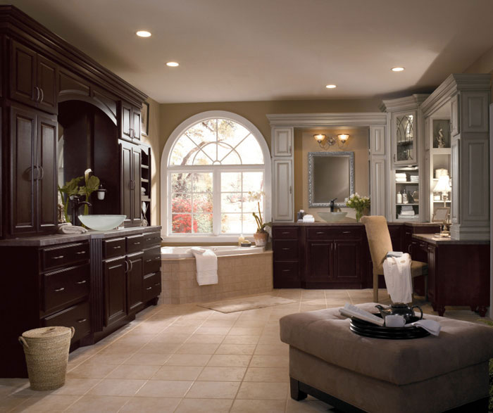 Dark Wood Cabinets In Traditional Bathroom Diamond