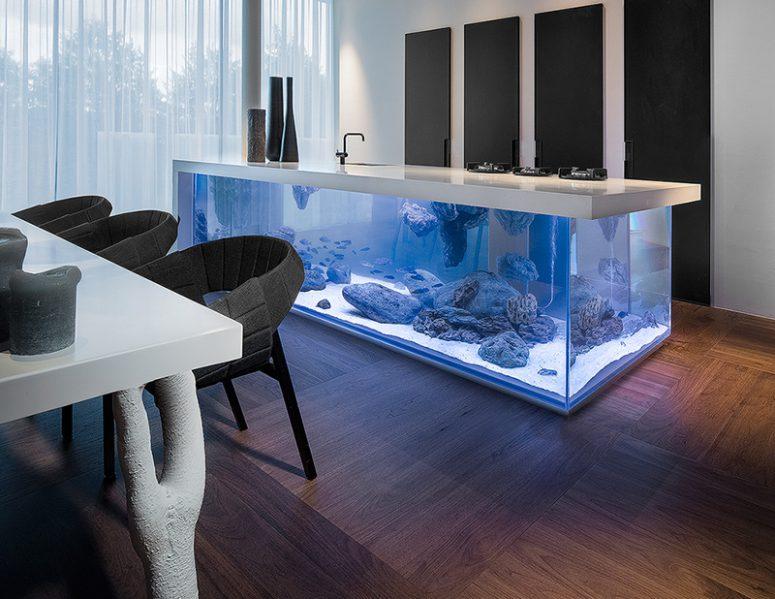 125 Awesome Kitchen Island Design Ideas   DigsDigs could you imagine that a kitchen island could have an aquarium inside it