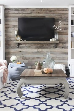30 Wood Accent Walls To Make Every Space Cozier   DigsDigs rustic pallet wall to accentuate a TV