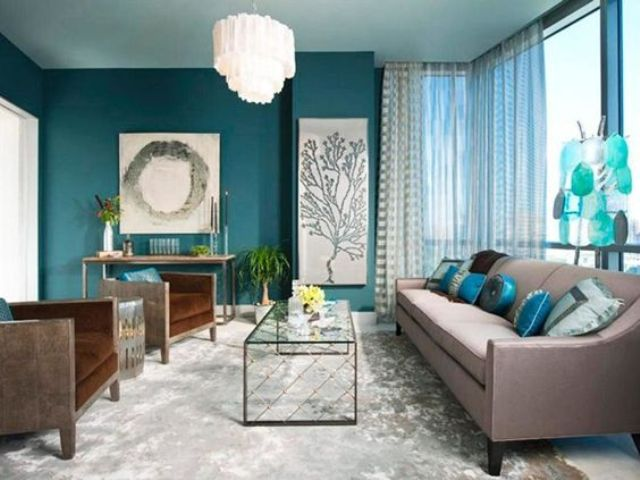 26 Cool Brown And Blue Living Room Designs   DigsDigs a teal accent wall  aqua blue accessories and brown upholstered furniture