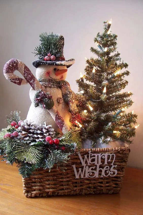 37 Cutest Snowman D    cor Ideas For This Winter   DigsDigs group items in a basket   a fir tree  a snowman and pinecones