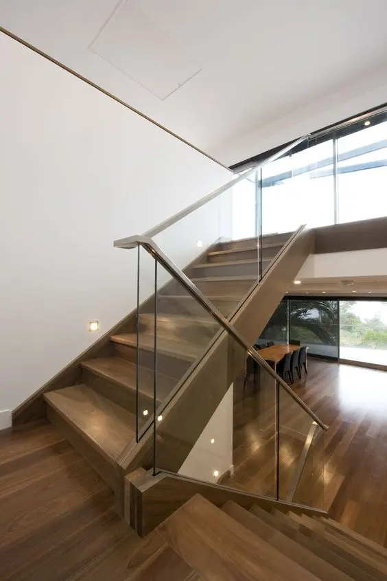 30 Stylish Staircase Handrail Ideas To Get Inspired Digsdigs | Steps Railing Designs With Glass | Terrace Staircase | Tempered Glass | Indoor | Crystal | Small Space