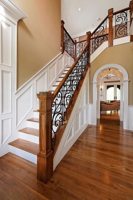 33 Wrought Iron Railing Ideas For Indoors And Outdoors | Wood And Iron Stair Railing | Banister | Reclaimed Wood | Wrought Iron Staircase Used | Ss Railing Design | Metal