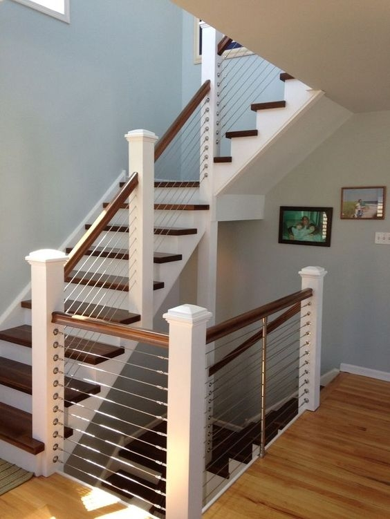 38 Edgy Cable Railing Ideas For Indoors And Outdoors Digsdigs | Wood And Wire Stair Railing | Before And After | Coastal | Natural Wood | Residential | Utility Panel