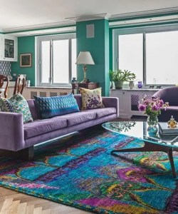 34 Analogous Color Scheme D    cor Ideas To Get Inspired   DigsDigs purple furniture  turquoise walls and a bold Eastern rug combining all  these shades